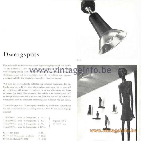 Raak Catalogue 5, 1962 – Raak Spotlights Dwergspots R-157, R-158, R-16