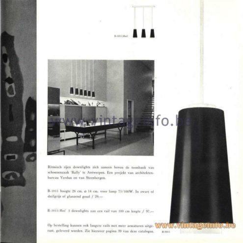 Raak Catalogue 5, 1962 - Raak Pendant Lamp B-1011, B-1011/Rail