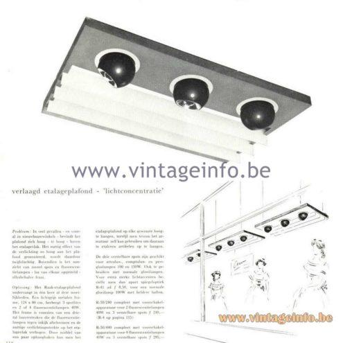 Raak Catalogue 5, 1962 – Raak Spotlight R-50 - Verlaagd etalageplafond - 'lichtconcentratie'