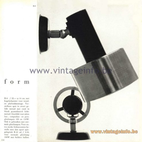 Raak Catalogue 5, 1962 – Raak Spotlight R-6 form