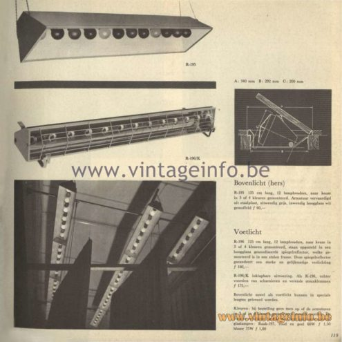 Raak Catalogue 5, 1962 – Raak Spotlight R-195, R-196