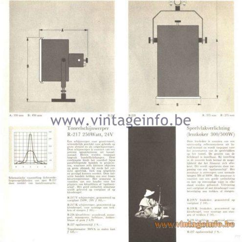 Raak Catalogue 5, 1962 – Raak Spotlight R-217, R-219, R-226, R-227 Raak Toneelschijnwerper R-217, R-226, R-227, Speelvlakverlichting R-219