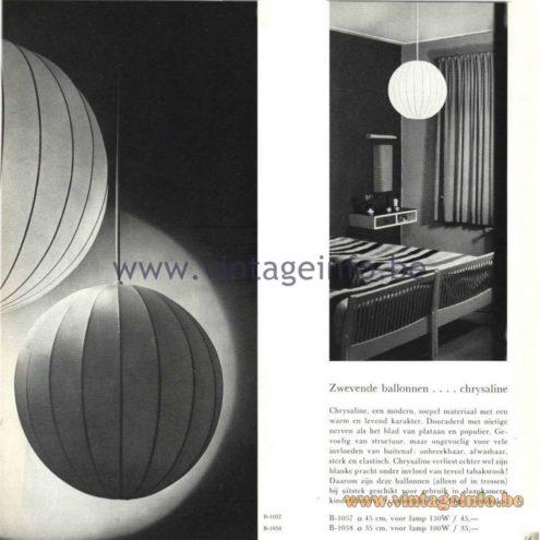 Raak Catalogue 5, 1962 - Raak Pendant Light B-1057, B-1058: Chrysaline