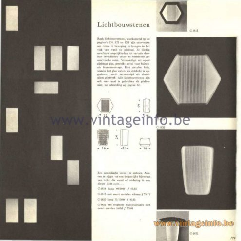 "Raak Catalogue 5, 1962 – Raak Wall or Ceiling Lamps ""Lichtbouwstenen"" C-1614, C-1615, C1620, C-1622"