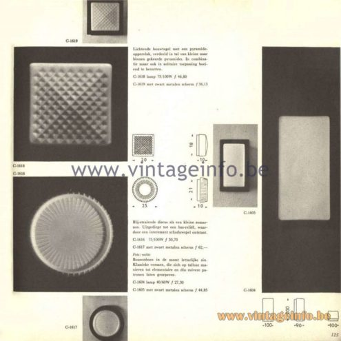 Raak Catalogue 5, 1962 – Raak Wall or Ceiling Lamps C-1604, C-1605, C-1616, C1617, C-1618, C-1619