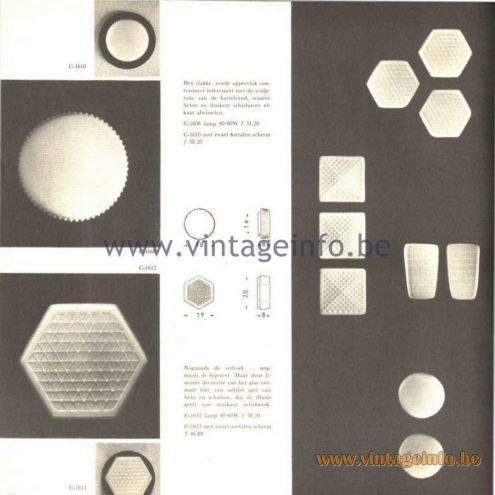 Raak Catalogue 5, 1962 – Raak Wall or Ceiling Lamps C-1608, C-1610, C-1612, C-1613