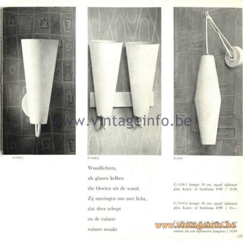 Raak Catalogue 5, 1962 – Raak Wall Lamps C-1553, C-1554