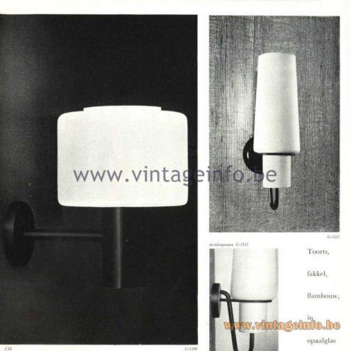Raak Catalogue 5, 1962 – Raak Wall Lamps C-1517. Raak Toorts, Fakkel, Flambouw, in opaalglas, C-1517