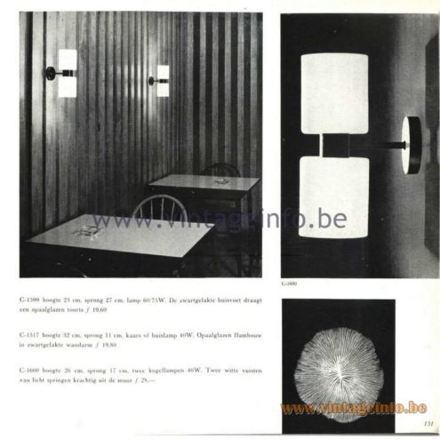Raak Catalogue 5, 1962 – Raak Wall Lamps C-1517, C-1599, C-1600
