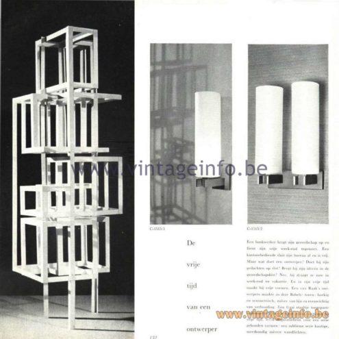 """Raak Catalogue 5, 1962 – Raak Wall Lamps """"De vrije tijd van een ontwerper"""" C1515 """"Free time of a designer"""""""