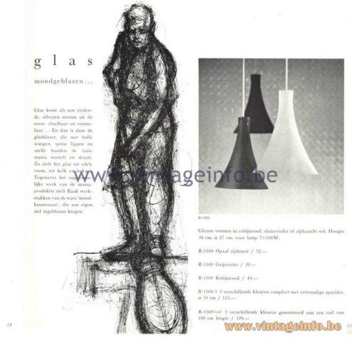 Raak Catalogue 5, 1962 - Raak Pendant Light B-1169, B-1169/Rail
