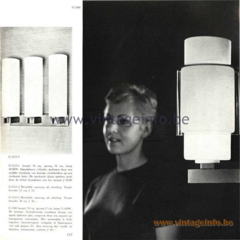Raak Catalogue 5, 1962 – Raak Wall Lamps C-1515, C-1580