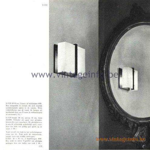 Raak Catalogue 5, 1962 – Raak Wall Lamps C-1521, C-1576, C-1579