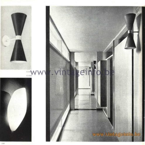 Raak Catalogue 5, 1962 – Raak Wall Lamps C-1519, C-1550 Diabolo