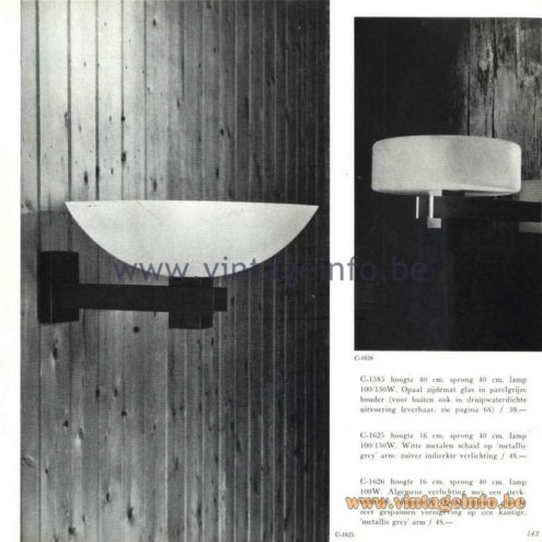 Raak Catalogue 5, 1962 – Raak Wall Lamps C-1585, C-1625, C-1626