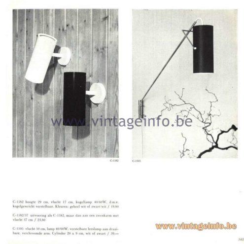 Raak Catalogue 5, 1962 - Raak Wall Lamps C-1582, C-1505