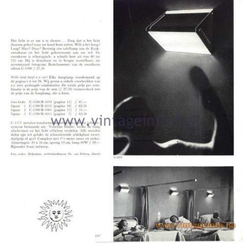 Raak Catalogue 5, 1962 – Raak Wall Lamps C-1590, B-1033, B-1012, B-1061, B-1015