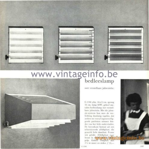 Raak Catalogue 5, 1962 – Bedside reading lamp with adjustable blinds