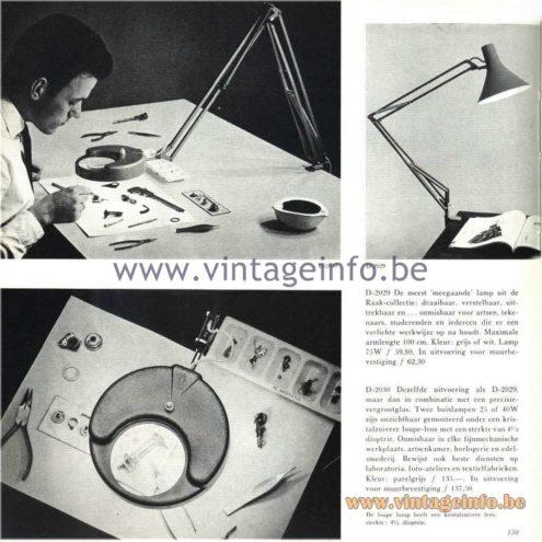 Raak Catalogue 5, 1962 – Raak Architect Lamp - Hobby Lamp D-2029, D-2030