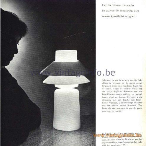Raak Catalogue 5, 1962 – Raak Table Lamp D-2044 - Een lichtbron die zacht en zuiver de meubelen met warm kunstlicht omgeeft A light source that gently and cleanly surrounds the furniture with warm artificial light