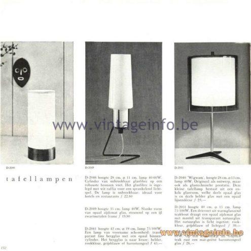 Raak Catalogue 5, 1962 – Raak Table Lamp D-2046, D-2049, D-2041
