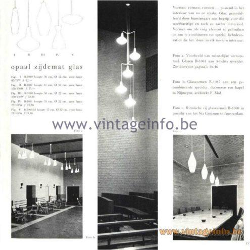 Raak Catalogue 5, 1962 - Raak Pendant Light B-1010, B-1087, B-1060, B-1061