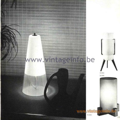 Raak Catalogue 5, 1962 – Raak Table Lamp D-2051, D-2048