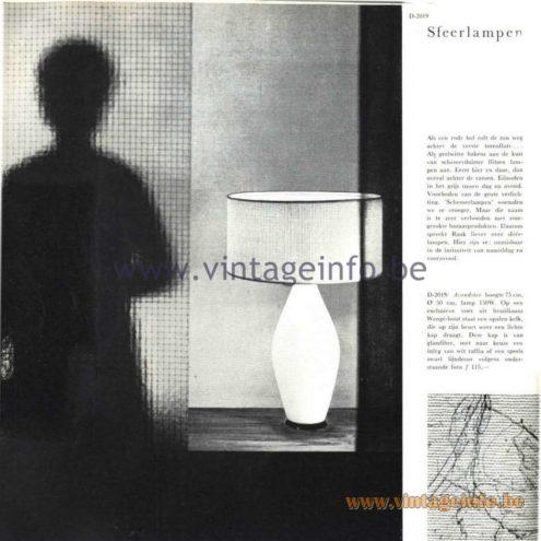 Raak Catalogue 5, 1962 – Raak Table Lamp D-2019 Sfeerlampen - ambiance lamps