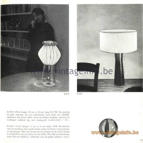 Raak Catalogue 5, 1962 – Raak D-2010, D-2018 Table Lamps