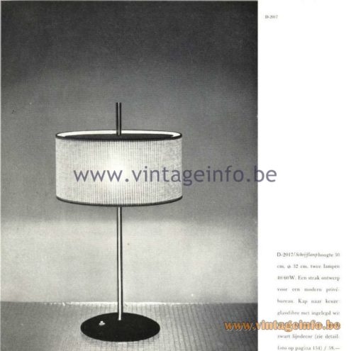 Raak Catalogue 5, 1962 – Raak D-2017 Table Lamp