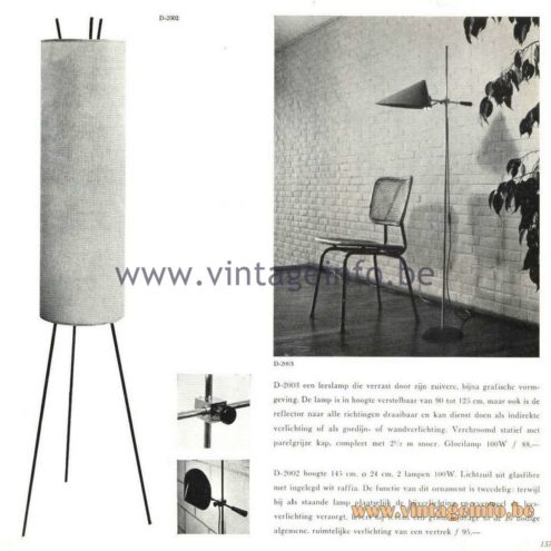 Raak Catalogue 5, 1962 – Raak D-2003, D-2002 Floor Lamps