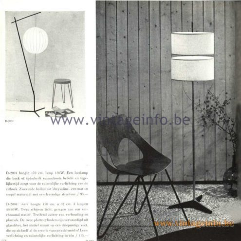 Raak Catalogue 5, 1962 – Raak D-2001, D-2004 Floor Lamps