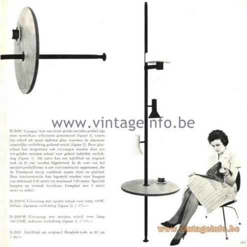 Raak Catalogue 5, 1962 – Raak D-2020, D-2021 Tafelblad uit origineel Bangkok-teak