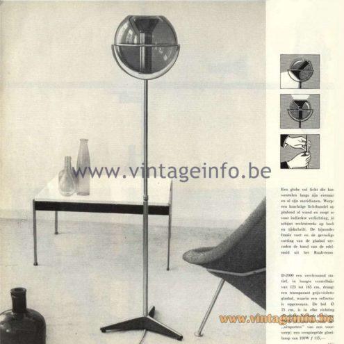 Raak Catalogue 5, 1962 – Raak D-2000 Globe Floor Lamp - Frank Ligtelijn