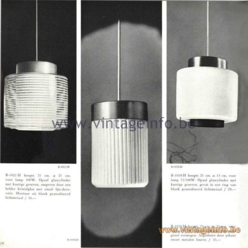Raak Catalogue 5, 1962 - Raak Pendant Light B-1019/H, B-1021/H, B-1034/H