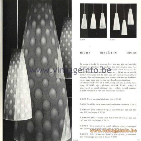 Raak Catalogue 5, 1962 - Raak Pendant Lights B-1081, B-1088, B-1081/Rail, B1081/3, B1088/3