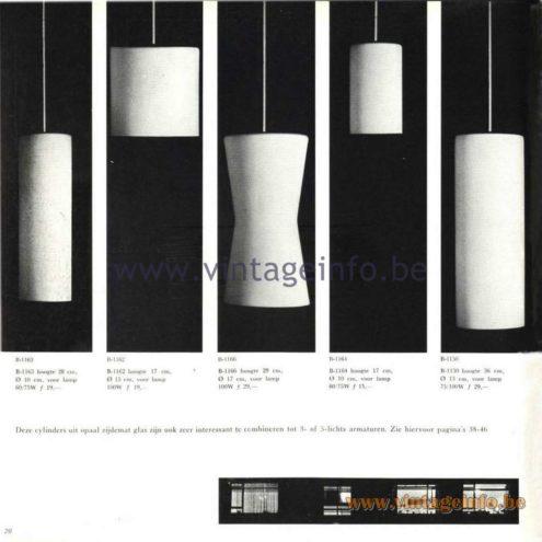 Raak Catalogue 5, 1962 - Raak Pendant Lights B-1163, B-1162, B-1166, B-1164, B-1150