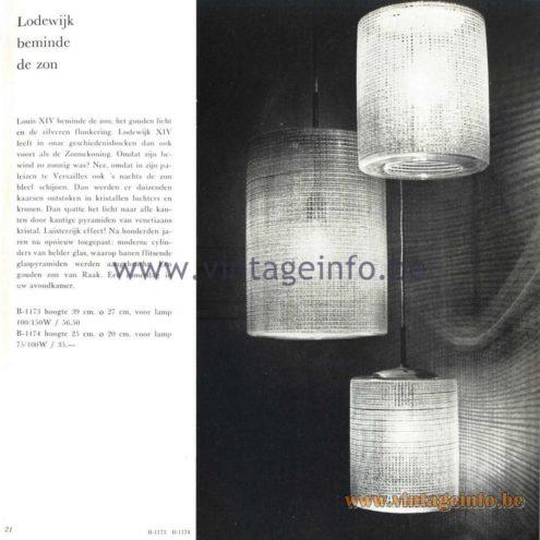 Raak Catalogue 5, 1962 - Raak Pendant Lights B-1173 B-1174