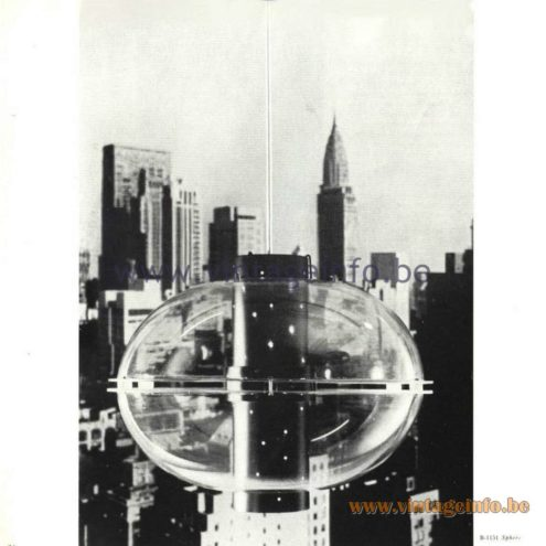 Raak Catalogue 5, 1962 - Raak Pendant Lamp B-1151: Sphere