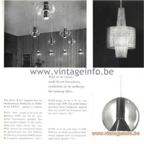 Raak Catalogue 5, 1962 - Aloys Ferdinand Gangkofner Pendant Lamp B-1124 & Raak B-1040, B-1151 Pendant Lamps
