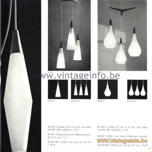 Raak Catalogue 5, 1962 - Raak Pendant Lamps B-1000, B-1001