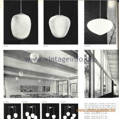 Raak Catalogue 5, 1962 - Raak Pendant Lamps B-1106, B-1108
