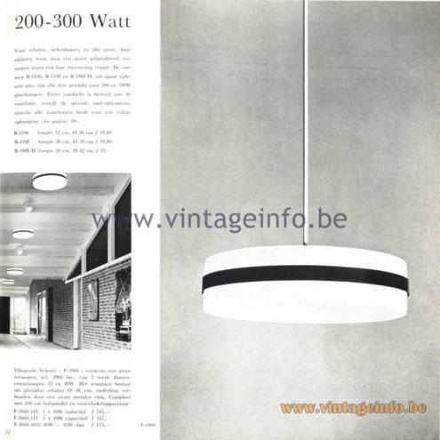 Raak Catalogue 5, 1962 – Raak Pendant Lamps B-1106, B-1108, B1068