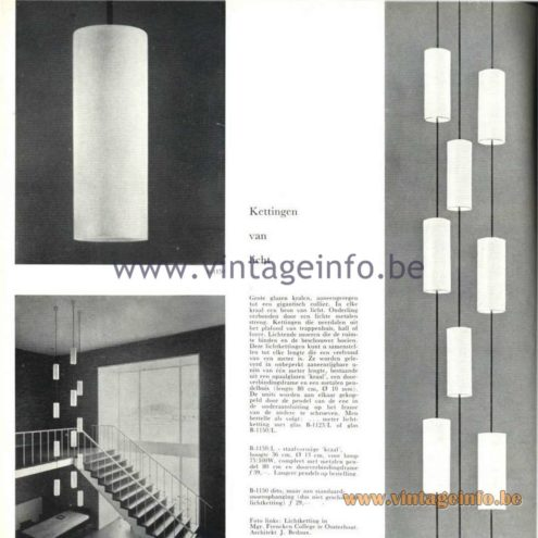 Raak Catalogue 5, 1962 – Raak Chandelier B-1150, B-1123