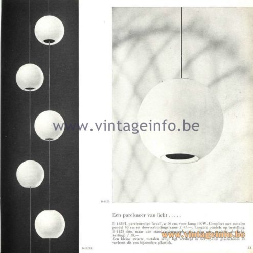Raak Catalogue 5, 1962 – Raak Chandelier B-1123