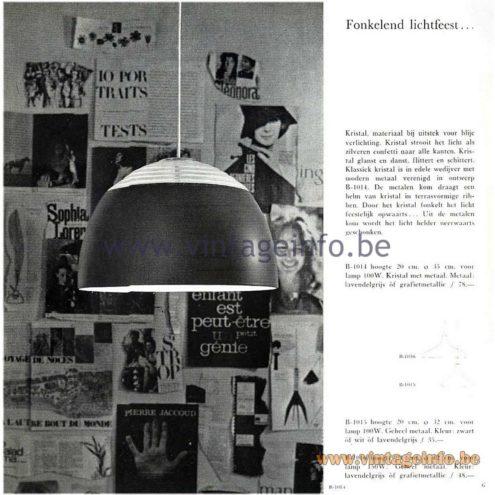 Raak Catalogue 5, 1962 - Raak B-1015, B-1016, B-1017 Pendant Lamp