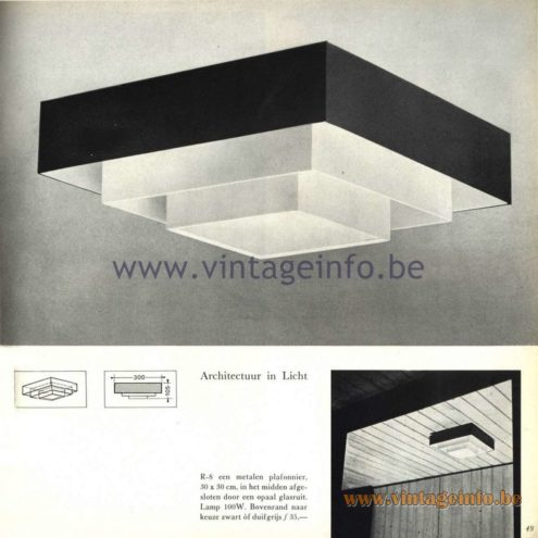 Raak Catalogue 5, 1962 – Raak R-8 Ceiling Lamp/Flush Mount