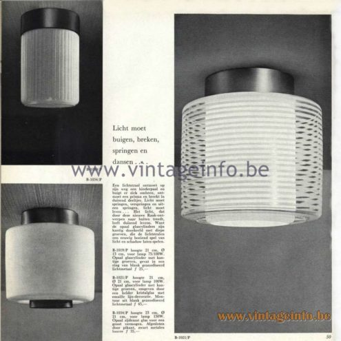 Raak Catalogue 5, 1962 – Raak Ceiling Light/Flush Mount B-1019, B-1021, B-1034