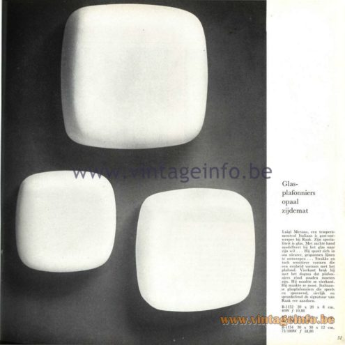 Raak Catalogue 5, 1962 – Raak Ceiling Lamp/Flush Mount/Wall Lamp B-1152, B-1153, B-1154