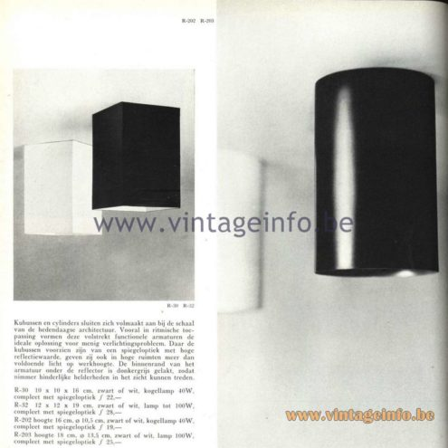 Raak Catalogue 5, 1962 – Raak Ceiling Lamp/Flush Mount/Wall Lamp R-202, R-203, R-30, R-32
